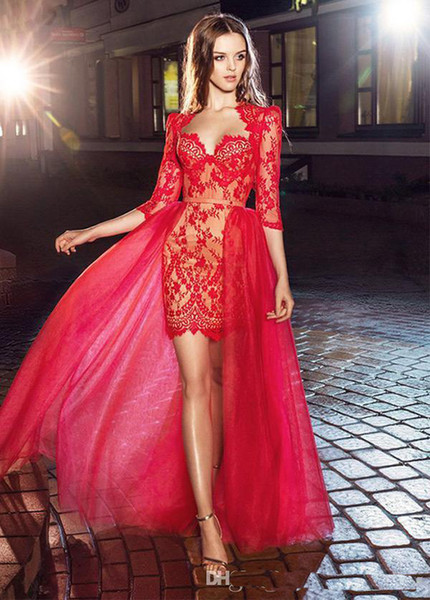 2018 custom made Pretty Red Applique Lace Sheer Vestidos de Noite Com Bainha Magro Meia Mangas Curto Cocktail Prom Party Dress