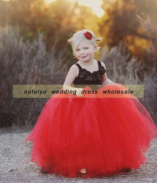 Red and Black Flower Girls Dress Ball Gown Little Square Girls Pageant Dress Elegant Little Baby Said Mhamad Lovely Partys Gown