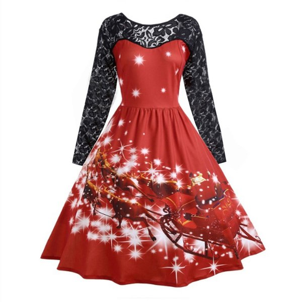 S~3XL 2018 New Women Short Sleeve Floral Slim Christmas Dress Lace Patchwork Autumn Elegant Robe Femme Vintage Swing Sundress
