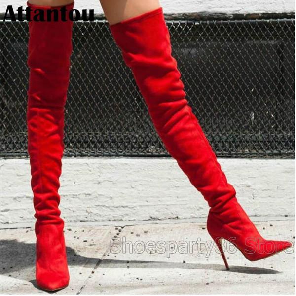 Stilista tacco alto da donna con tacco alto a coste alto da donna slim fit inverno rosso brillante