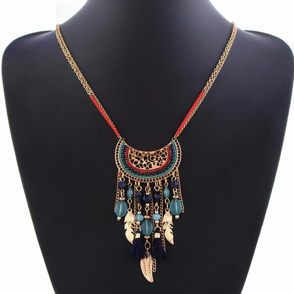 весь saleBoho кисточкой мода Макси ожерелье воротник Boho ожерелья подвески перо колье Ожерелье для женщин ювелирные изделия старинные этнические