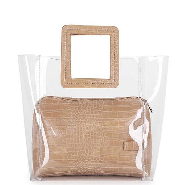 2018 summer new stylish joker minimalist atmospheric retro bag bag Korean transparent pu fashion ladies' handbags