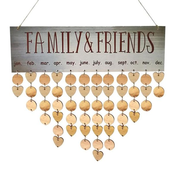 DIY Wooden Hanging Calendar Board Family Friends Dates Sign Planner Mark Decor Gift for Friends Birthday Reminder Arts Wall Crafts 14styles