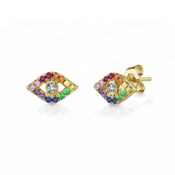 lucky evil eye charm Gold silver plated 925 sterling silver rainbow colorful cz paved bright silver eye stud earring