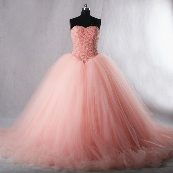 The new spring and summer 2018 heart-shaped collar meat Pink Tutu pearl ball gown skirt back strap multilayer net bag mail
