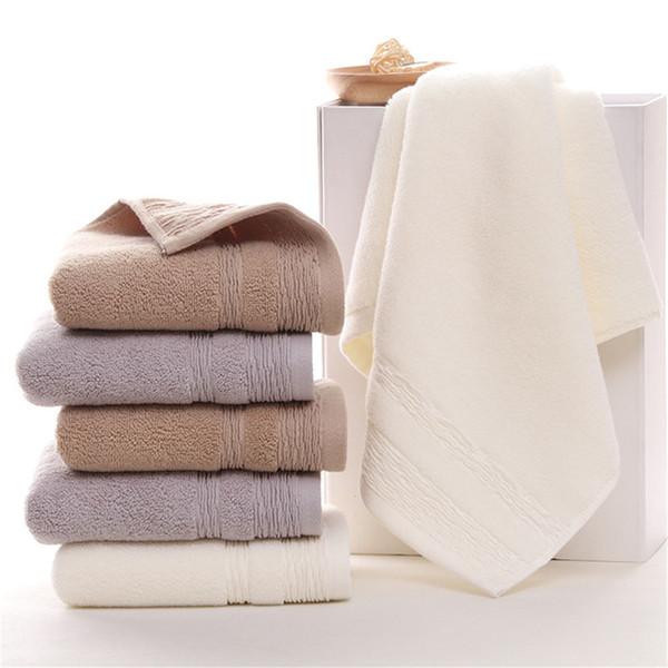 Comercio al por mayor 10 unids 34 * 75 cm Algodón Toalla de Cara Espesar Logotipo personalizado Cuarto de baño Toallita Suave Color Sólido Toallas de Mano Envío Gratis