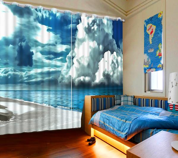Dalga beyaz bulutlar Perdeleri Karartma Modern Oturma Odası Perdeleri Hooks Polyester / Pamuk Perdeler Perde Avrupa Lüks Ev Dekor