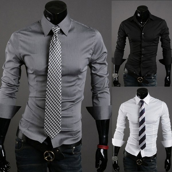 Compre Camisa Casual De Hombre Camisa De Manga Larga Con Camisa Ajustada Negra De Color Sólido Camisas De Vestir Para Hombre De Color Sólido Ropa Para