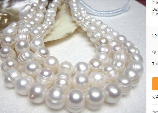 Бесплатная доставка редкое хорошее качество 9-10 мм серый Южное море натуральный жемчуг ожерелье 32