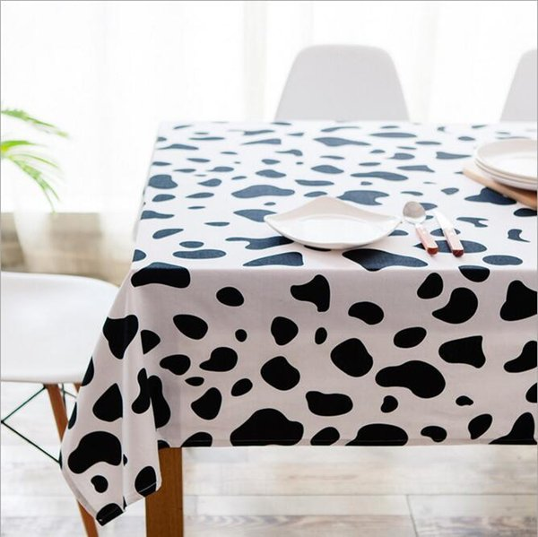 Newly Canvas Tablecloth With Cow Pattern Table Cloth Art Dinner Table Cloth Home Decoration Simple Table Cover For Wedding Party Rent Table Linens