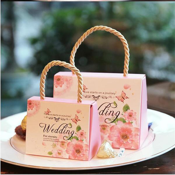 Boîte De Bonbons De Mariage Romantique Kraft Cadeau Boîte Sac À Main De Faveurs De Mariage et Cadeaux Sac Articles De Fête Doux Sac 095