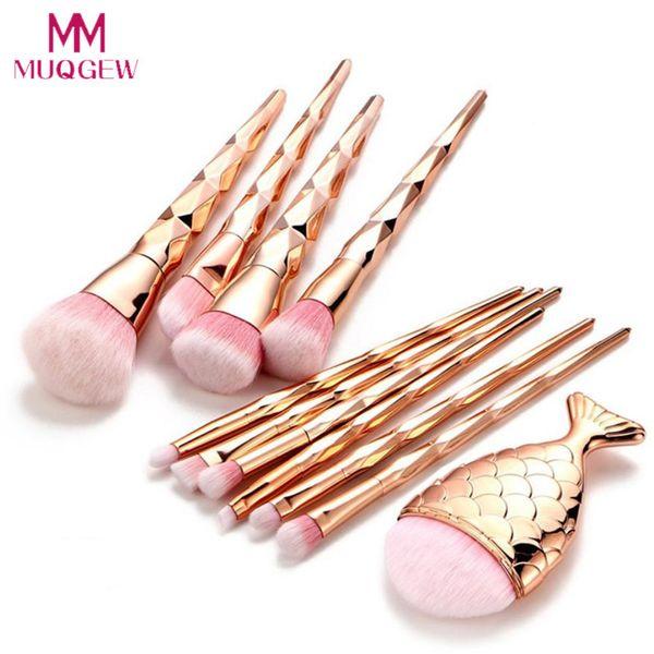 11Pcs Diamond Rose Gold Makeup Brushes Set Mermaid Fishtail Shaped Foundation Powder Make up Brushes Tools pinceaux maquillage