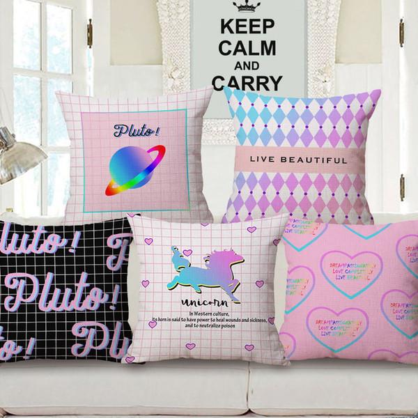 Pluto Unicorn Dream Love Cushion Covers Modern Geometric Plaid Stripes Art Cuscino decorativo Federa di cotone in lino