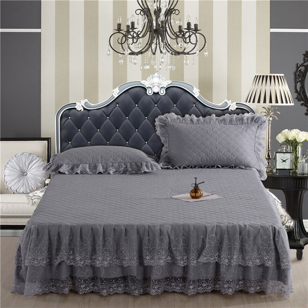 Princess Lace Bed Skirt Pink Grey Red bed spread King/Queen/Full cover home decoration Quilted Bedding set 150/180X200cm
