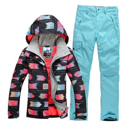 New GSOU SNOW Women's Ski Suit Thick Warm Outdoor Windproof Waterproof Breathable Ultra Light Ski Jacket Trousers Size XS-L
