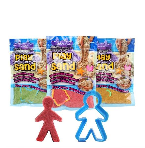 DIY 100 gr / beutel mit 1 Modell Bunte Ton Spielen Sand Indoor Magic Play Sand Kinder Lernen Lernspielzeug Weihnachtsgeschenk Spielzeug 5 farben