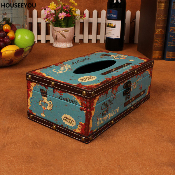 Antique Style Retro Rectangular Paper Cover Storage Boxes Wooden Tissue Box Napkin Holder Home Decor Toilet Dining Room Supplies