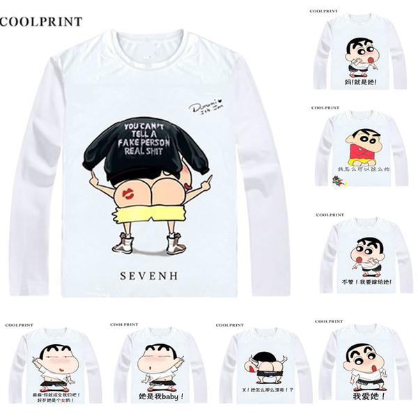 Shinnosuke Nohara T-Shirts Long Sleeve Shirts Manga Anime Shin chan Shinchan and Shin-chan Crayon Cosplay Shirt