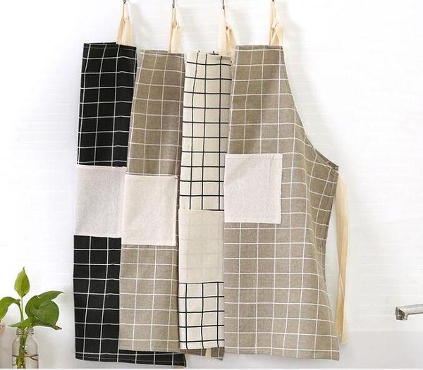 Delantal de tela de algodón a prueba de aceite limpio delantal cocina trabajo ropa panadería medio delantal / rejilla blanca