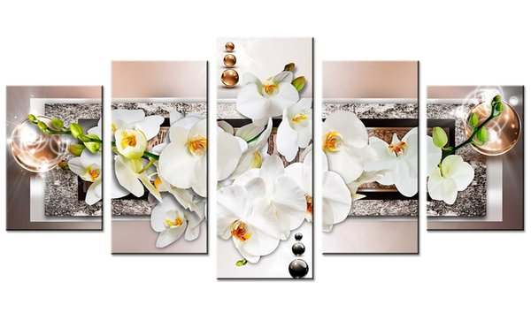 Orchid Flowers Canvas Print Wall Art Painting Decor for Home Decoration Picture for Bedroom Framed Ready to Hang White Floral Artwork Gifts