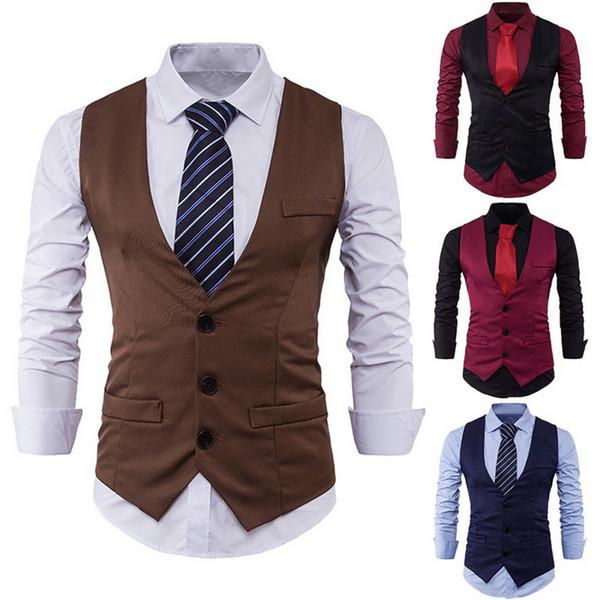 SHUJIN 2018 1 Piece Leisure V-neck Party Dress Vest Black Formal Tops Stylish Men Spring Slim Fit High-End Business Suit Vest