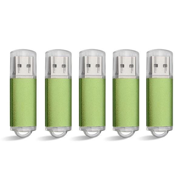 Green 5PCS/LOT Rectangle USB 2.0 Flash Drive Flash Pen Drive High Speed Memory Stick Storage 1G 2G 4G 8G 16G 32G 64G for PC Laptop Thumb Pen