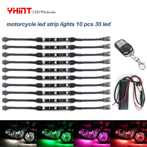 Motocicletta multicolore per motocicli a LED Kit da 10 pezzi con interruttore a distanza per controller Polaris Slingshot Harley Davidso