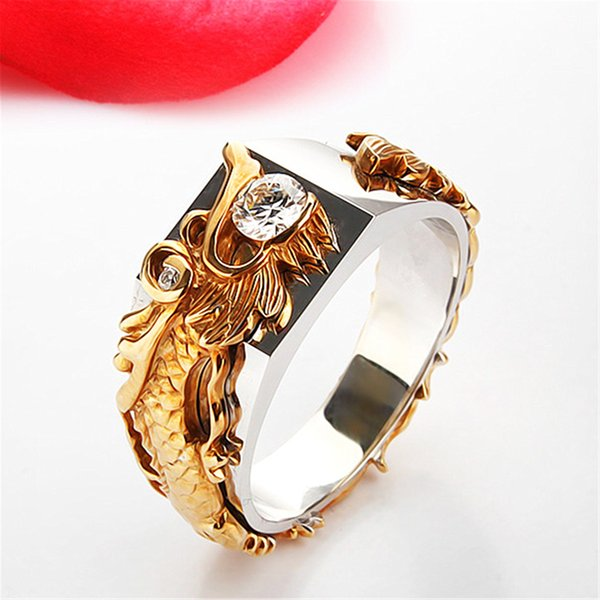 2018 new fashion dragon ring domineering male ring gold color separation 925 diamond ring