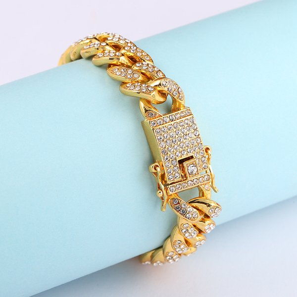 Wholesale 18k Gold Plated Mens Bling Full Rhinestones Cuban Miami Link Bracelet Hip Hop Fashion Jewelry