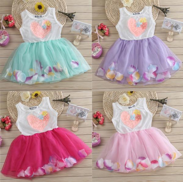 Girls Dresses Kids Patel Floral LOVE Heart Shape Rose Tulle Layered Tutu Lace Dresses with 3D Flowers Children Princess Party Dresses
