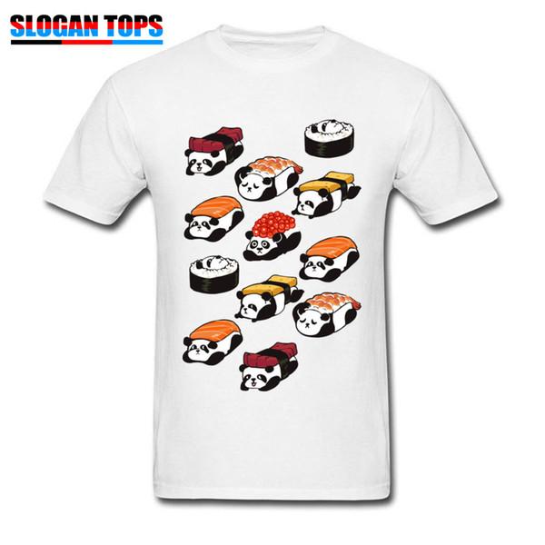 Kawaii Sushi Pandas T-shirt Men White T Shirt Summer Guys Cute Tees Birthday Gift Tops Japan Style Clothes Cotton Tshirt Funny
