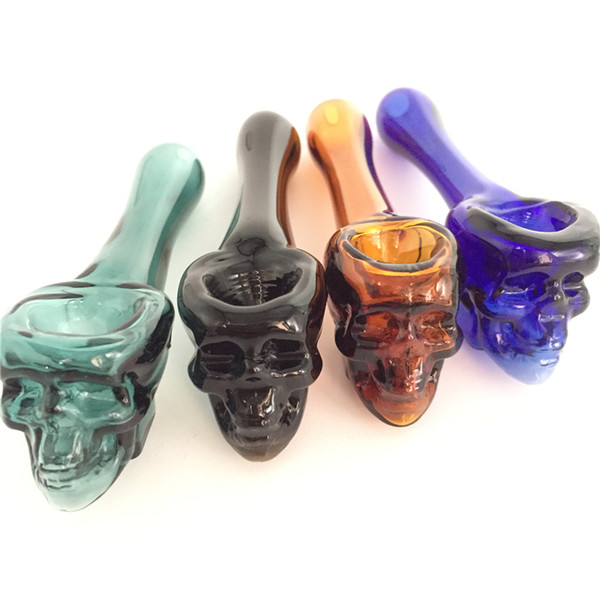 best selling Pyrex Oil Burner Pipes Thick skull Smoking Hand spoon Pipe 3.93 inch Tobacco Dry Herb For Silicone Bong Glass Bubbler