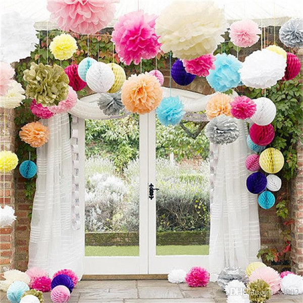 Tissue Paper Flower Ball Colorful Hand Made Pom Poms Balls For Wedding Party Home Decorations Supplies New Arrival 3 51hz9 dd