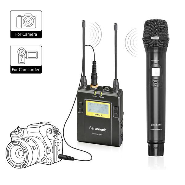 Drahtloses Handmikrofon für DSLR Kamera, Saramonic UWMIC9 UHF Interview-Mikrofon-System mit Handmikrofon und Empfänger