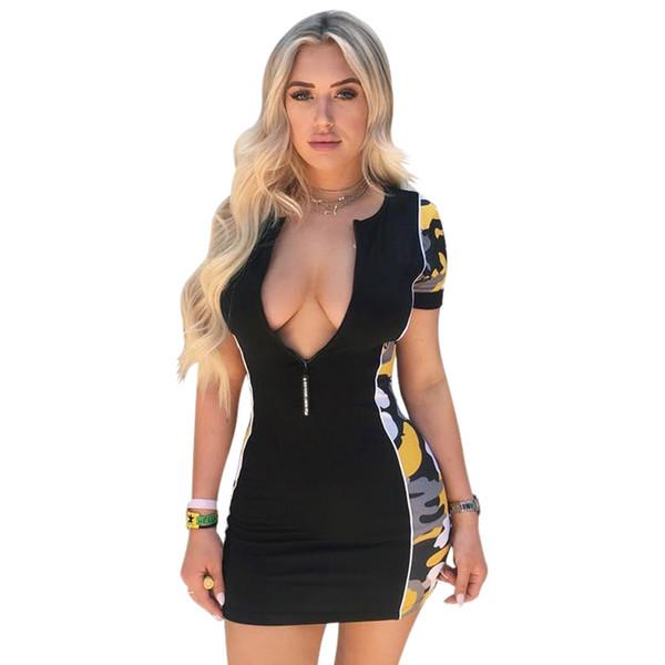 Summer Sexy Women Dress with Zipper Sexy Deep V Neck Party Club Women Mini Dresses S-XL