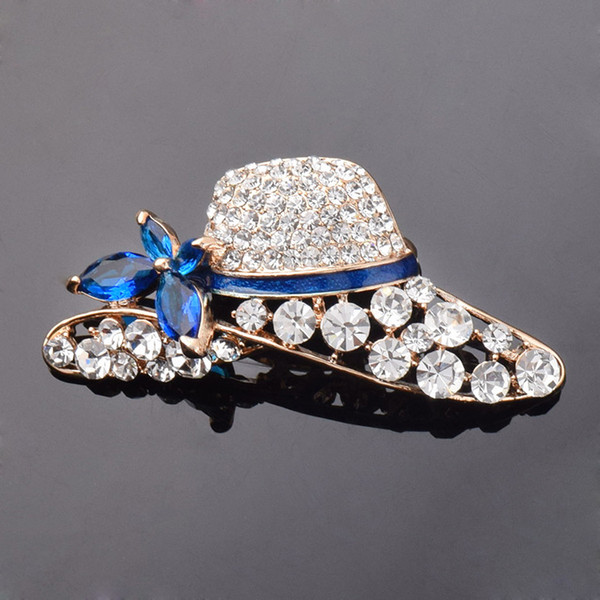Fashionable hat crystal brooch Korean version of high-end wedding bridal clothing accessories creative brassiere wholesale