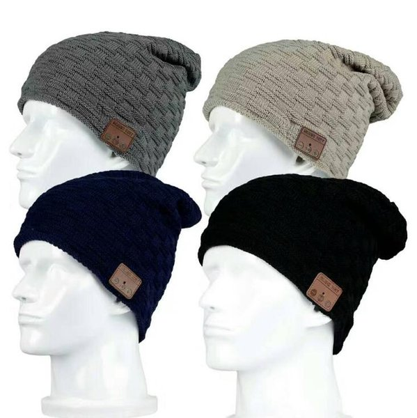 Wireless Bluetooth Thick Knit Beanie 4 Colors Headphone Earphone Microphone Winter Trendy Cap Smart Outdoor Party Hats 100pcs OOA5689