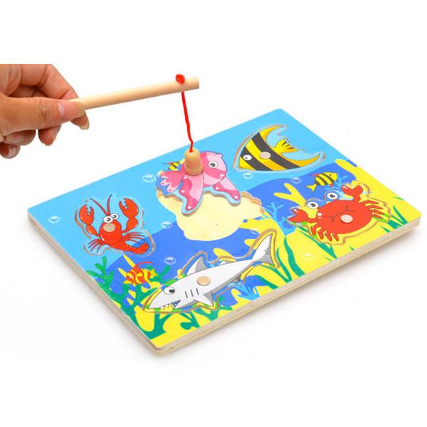 3 PC 도매 목조 자기 낚시 게임 3D 퍼즐 재미 있은 아기 아이 대화 형 퍼즐 장난감