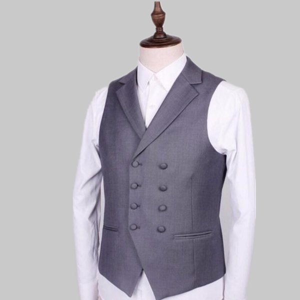 Ma3 jia Double-breasted grey men suit vest style lapel pure color chic dress formal dinners wedding the groom suit waistcoat...