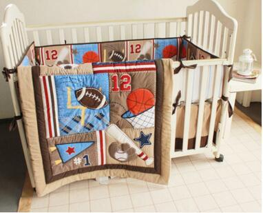 INS 4 PCS Children Crib Bed Set Sports Baseball 12 cot bedding Inc baby quilt dust ruffle bedcover