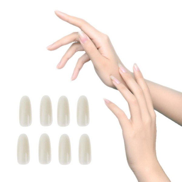 50pcs / Pack Ultra-Mince Ronde Demi-couverture Faux Ongles Conseils Gel UV Faux Nail Art Conseils Salon Manucure DIY Faux Autocollants