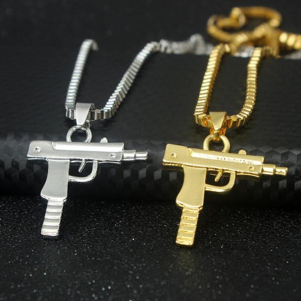 Fashion Personality Hip Hop Uzi Gun Necklaces & Pendants Gold Chain Necklace for Men Women Party Accessories