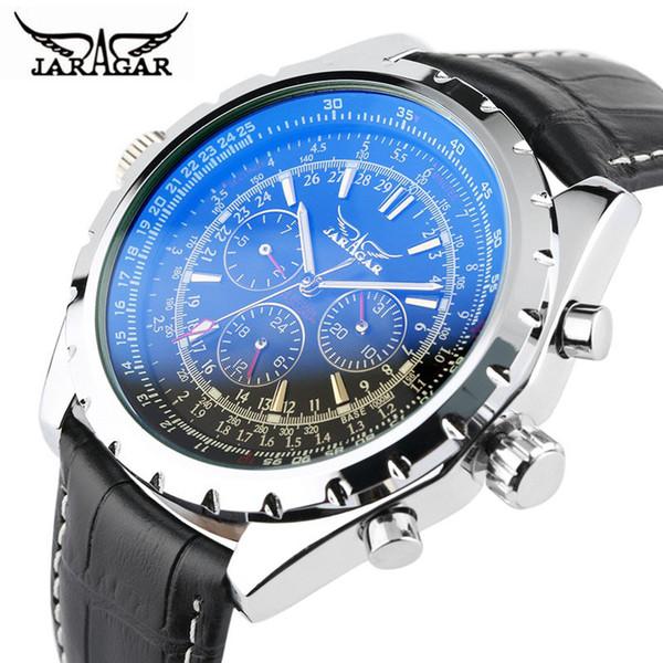 JARAGAR Fashion Brand Business Watch Men Luxury Crocodile-Embossed Leather Wrist Watches Automatic Mechanical Calendar Men Clock D18100706