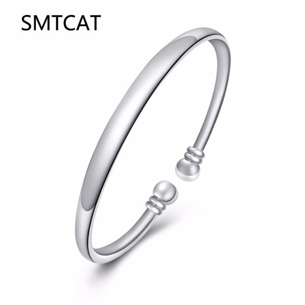 SMTCAT Wholesale silver smooth bangle bracelet 925 pure silver plated Jewelry Double Ball Silvery open Bangle Pulseiras de Prata