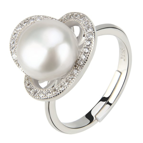 Shiny Flower 1 Piece 925 Pure Sterling Silver Adjustable 9-9.5mm Freshwater Bread Pearl Ring Designs for Women, Free Shipping