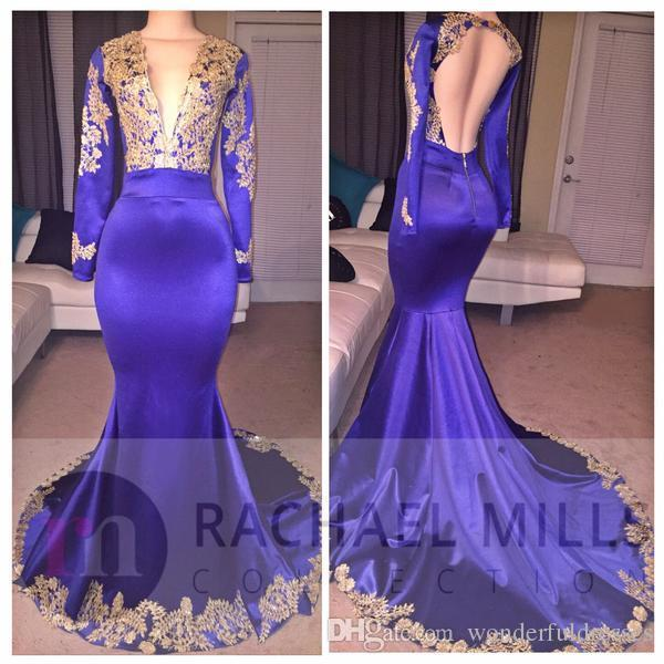 2018 New Elegant Long Mermaid Prom Gown Gold Appliques Deep V Neck Long Sleeve Open Back Sweep Train South African Prom Dress Evening