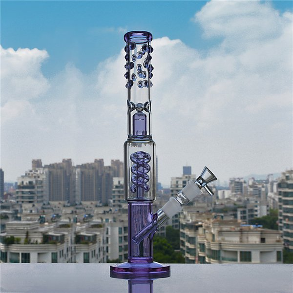 Purple/Blue Bong Glass Water Pipes Percolator with Spiral Coil Pretty 13.5 Inches and 18mm Bowl