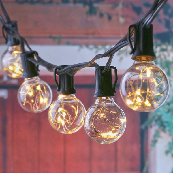 25ft G40 Globe String Lights Outdoor Led Patio Lights 25 Clear Vintage Bulbs Copper Wire For Holiday Garden Wedding Party String Lamp Outdoor Light