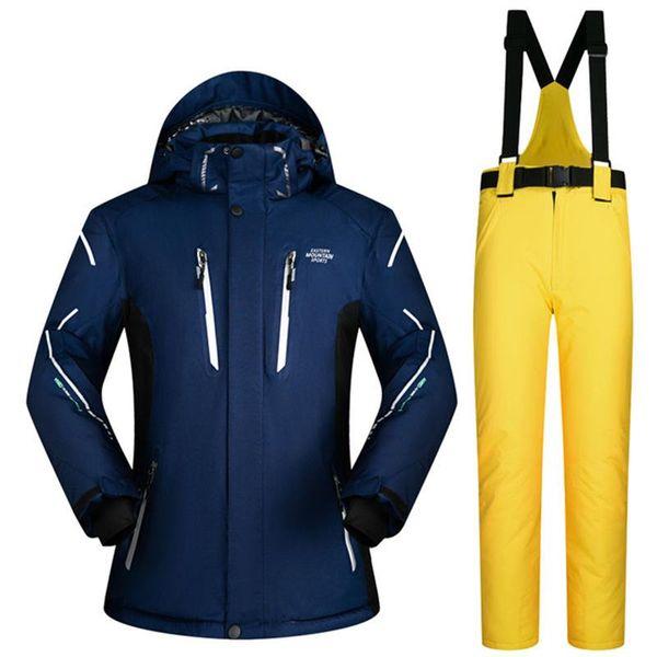 ski suit male pure color snow skiing jackets men super warm waterproof men's ski jackets and pants winter men snow clothing sets