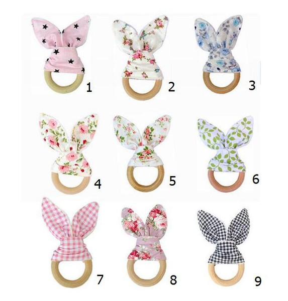 top popular 50pcs Infant baby INS Teethers Teething Ring Natural Wood Circle Soft Terry cloth cotton Teeth Practice boutique YE015 2020